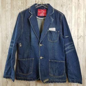 NEW Rustic Denim Distressed Blazer Jean Jacket